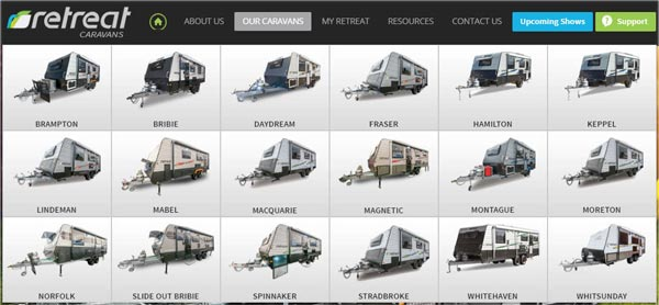 retreat caravan selection page